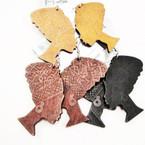 "2.5""  Wood Fashion Earrings Afro Women .52 ea"