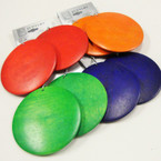 "2.75"" Big Round Wood Fashion Earrings Mixed Brights  .54 ea"