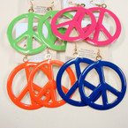"2.25"" Colorful Peace Sign  Earrings .27 ea"