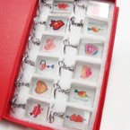 Heart Theme Glass Keychains in Display BX .33 ea