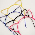 Trendy Cat Ears Headbands w/ Crystal Stones .54 ea