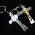"3"" Metal Two Tone Jesus Crucifix Keychains (48) .56 ea"