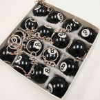 "1"" All Black 8 Ball Keychains 16 per bx .34 ea"