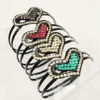 CLOSEOUT 2 Line Blk Plastic Headbands w/ Heart/Acrylic Stones .27 ea