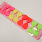 "8 Pack 2.5"" Neon Color Gator Clip Bows ONLY .54 per set of 8"