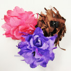 Big Size DBl Flower Jaw Clip Bows Mixed Colors ONLY .54 ea