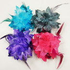 Big Size DBl Flower Jaw Clip Bows w/ Chif Dots & Feathers  ONLY .54 ea