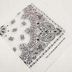 "22"" Square All White Printed Bandana .50 ea"
