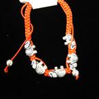 Handmade Red Macrame Bracelet w/ Silver Elephants (43) .54 ea