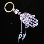 Blue Crystal Stone Hamsa Keychain w/ Eye Beads .54 ea