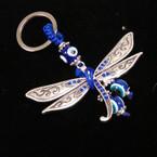 Blue Crystal Stone Dragonfly Keychain w/ Eye Beads .54 ea