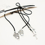 Popular Black Cord Lariat Choker Necklace w/ 2 Style  Charms .54 ea