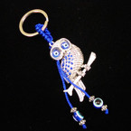 Blue Crystal Stone OWL Keychain w/ Eye Beads .54 ea