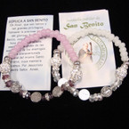 Asst Color Crystal & Fireball Bead Bracelet w/ San Benito Beads .54 ea