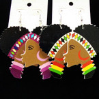 "2.25"" Colorful Wood Lady Head Fashion Earrings .54 ea"
