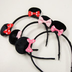 Small Black Mouse Ear Headbands w/ Mini Poka Dot Bows .54 ea