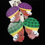 """2.5"""" Wood  Colorful  Lady Earrings CLIP ON's  .54 ea"""