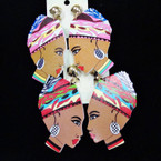 "2.5"" Wood  Colorful  Lady Earrings w/ Fancy Turbin  CLIP ON's  .54 ea"