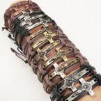 Teen Leather Bracelet w/ Crucfix 3 colors .54 ea