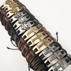 Teen Leather Bracelet w/ 2 Style Crosses .54 ea