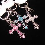 Silver  Keychain/Purse Charm w/ Silver Cross w/ Crystal Stones (130) .54 ea