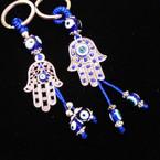 2 Style SIlver Hamsa Keychains w/ Eye Beads .54 ea