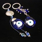 2 Style Blue Glass Eye Keychains w/ Dangle Eye Beads .54 ea