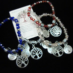 Crystal Beaded Stretch Bracelet w/ Silver Tree of Life Charms .54 ea