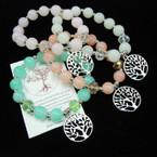 Glass & Crystal Beaded Stretch Bracelet w/ Silver Tree of Life Charm .54 ea