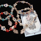 Crystal Beaded Stretch Bracelet w/ Silver Hamsa Charms  .54 ea