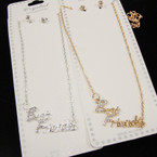Gold & SIlver Chain Neck Set w/ Crystal Stone Best Friend Pendant .54 per set