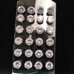 Big 12MM Clear Crystal Stone Stud Earrings on Display .54 ea pr