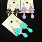 "1.75"" Asst Color Bubble Stone Earrings .54 ea pr"