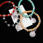 Colorful Beaded Bracelet w/ Silver Tree of Life Charm .54 ea
