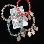 Silver & Crystal Beaded Stretch Bracelet w/ Silver Hamsa Charms  .54 ea