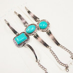 Cast Silver Fashion Bracelet w/ Turquoise Stone 3 Styles per dz  .56 ea