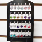 Silver Euro Wire Earring Display Colored Hearts w/ Crystal Stones .54 ea pr