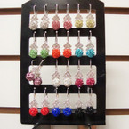 Silver Euro Wire Earring Display Colored Fireball w/ Crystal Stones .54 ea pr
