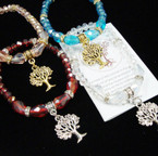 Crystal Beaded Stretch Bracelet w/ Gold & Silver Tree of Life Charm  .54 ea