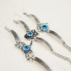 Cast Silver Bracelet w/ Owl,Dolphin,Butterfly w/ Evil Eye   .56 ea