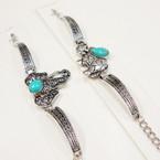 Cast Silver Bracelet w/ Turq. Stone 2 Style Elephants  .56 ea