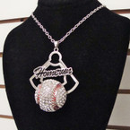 "16""  Silver Chain Necklace Set w/ Crystal Stone Baseball sold by pc $ 2.50 ea set"
