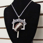"16"" Silver Chain Necklace Set w/ Cry. Stone  Football Pend. sold by pc $ 2.50 ea set"