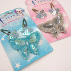 "CLOSEOUT 3"" Seq. Butterfly Pin & Snap Clip Set 12 sets @ .21 ea set"