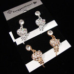 Petite Gold & Silver Heart Earrings w/ Crystals .42 ea