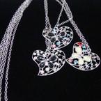 """24"""" Silver Chain Necklace w/ Stone Heart Pendant .50 ea"""