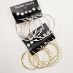 6 - Pair Gold & Silver Fashion Hoops Plus Studs .42 ea set