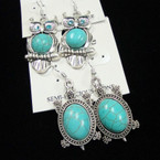 Silver Owl & Turtle Earrings w/ Turquoise Stone .54 ea