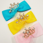 """5"""" Gator Clip Bow w/ Lace & Gold Crown w/ Stones 24 per pk @ .42 ea"""
