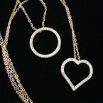 "24"" Gold Chain Necklace w/ Crystal Stone Heart & Circle of Life Pendants .56 ea"